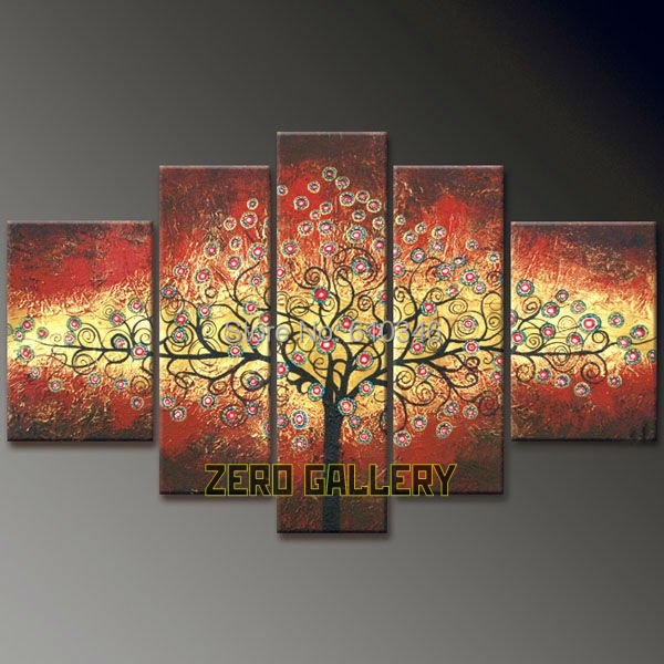 Modern Islamic Abstract Tree Of Life Red Eyes Large Canvas