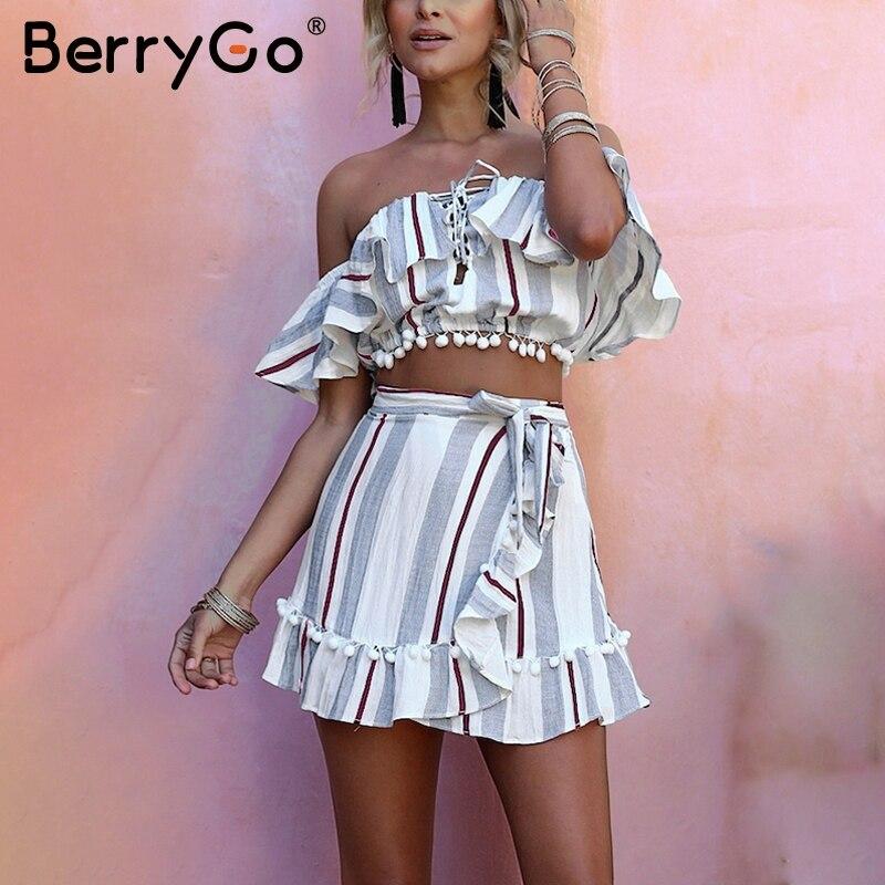 BerryGo Stripe ruffle lace up dress Donne ritagliate off avvolgere spalla due pezzi 2018 di stile di Estate breve causale del vestito vestidos