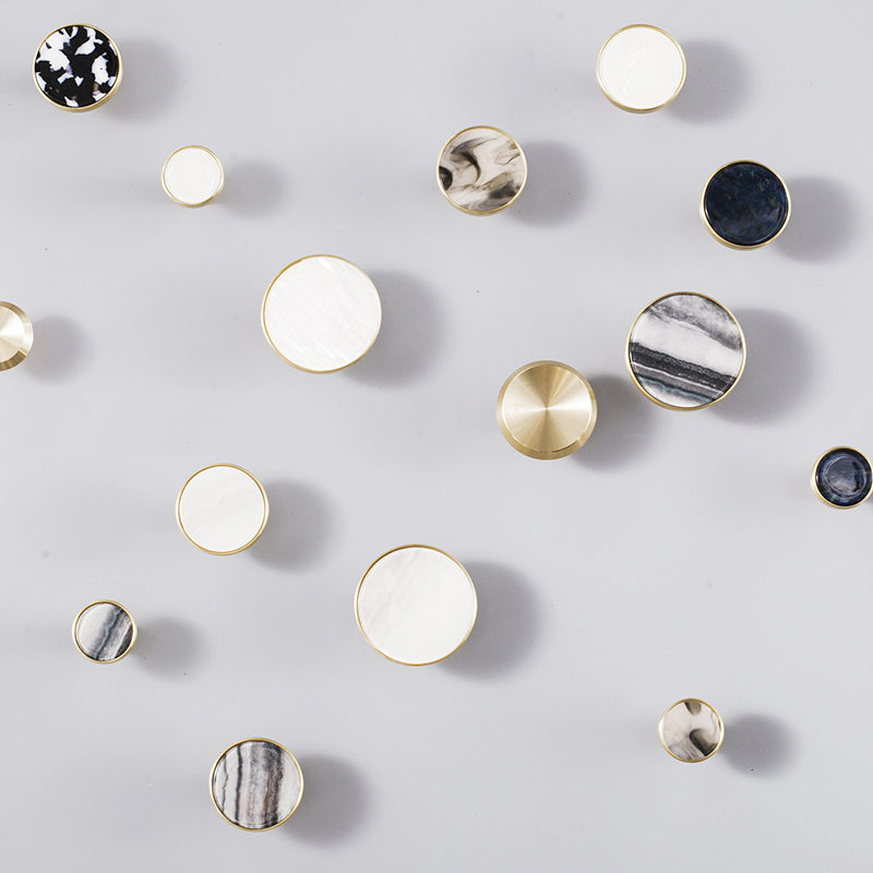 Round Marble brass cabinet pulls/Kitchen Drawer Cabinet Handle Furniture Knobs Hardware Cupboard Pull contemporary and contracted brass material handle straight round bar cabinet cabinet wardrobe drawer artical metal handle