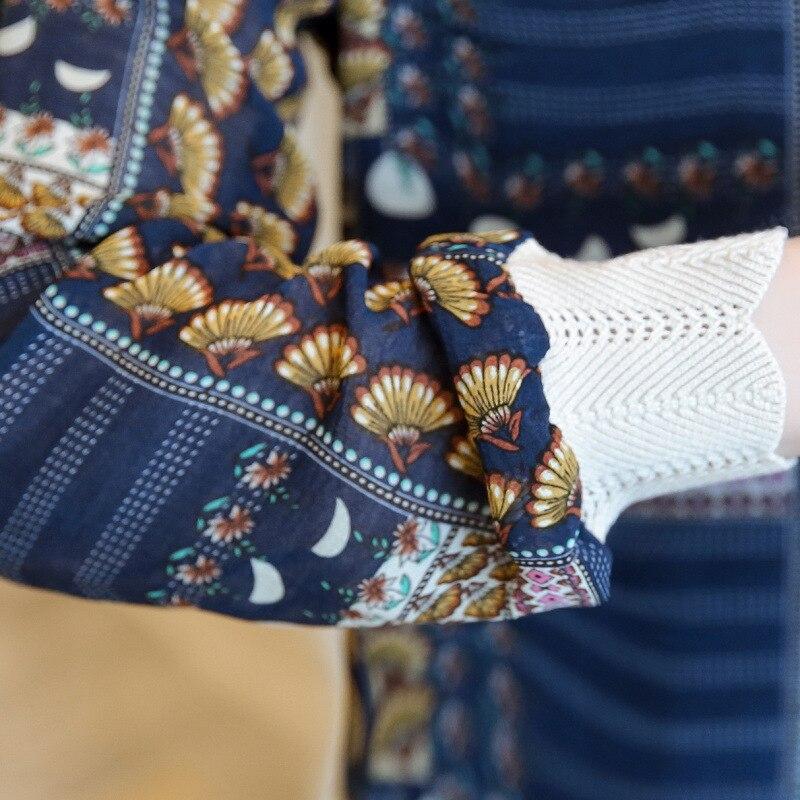 blanc Bureau En Printemps Debout Mousseline Col Blouses Chemises Soie Manches Lanterne Couture Ol De Longue Élégant Femmes Tops Haute 2018 Bleu Impression pvSZxnCn