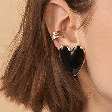 8Seasons New Sweet Geometric Big Heart Stud Earrings Gold Color Metal Enamel For Women Wedding Banquet Fashion Jewelry