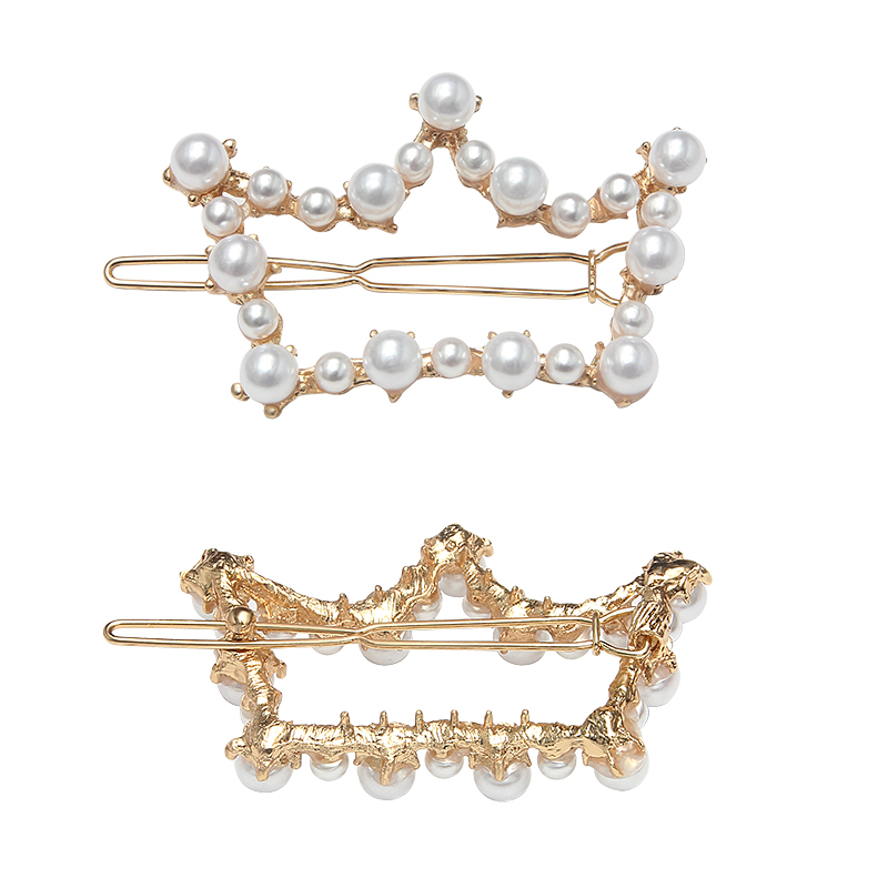 New Fashion Pearl Hair Clip for Women Elegant Love Crown Five Star Barrette Stick Hairpin pearl clip Styling Hair Accessories