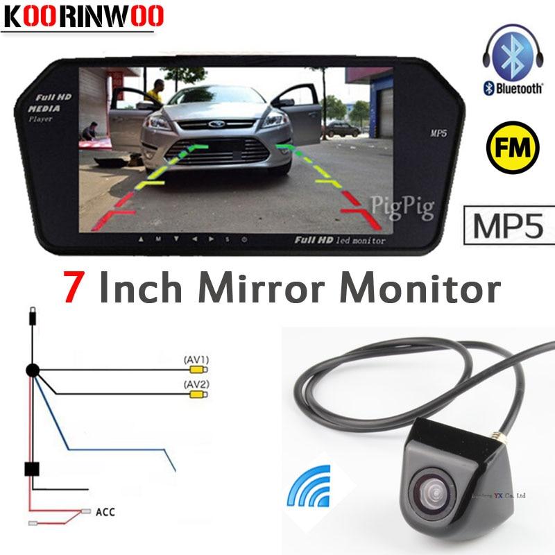 Koorinwoo Parking 7 Inch FM Display Digital 1024*600 Car Mirror Monitor Bluetooth MP5 Screen With Car Rear View Camera Back Up