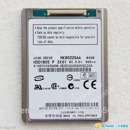 """NUEVO 1.8 """"CE 80GB MK8022GAA Unidad de disco duro para IPOD HDD CLÁSICO SOLAMENTE reemplace HS081HA MK1231GAL SHIIPPING GRATUITO"""
