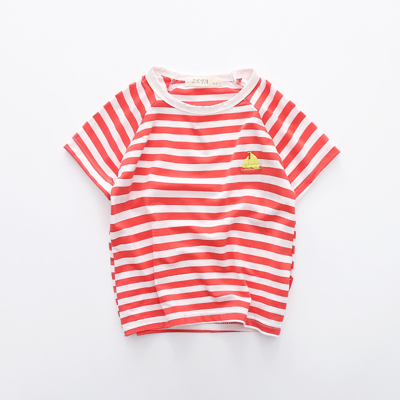 2018 Baby Clothes Boys Girls Striped T Shirt Children Embroidery Tees Summer Jumper Tops Pure Cotton Soft Short Sleeve Shirts