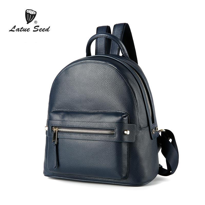 Здесь можно купить  Latue Seed Blue Backpack Women 2018 New Cowhide Bag Wild Version Of The Tide Casual Soft Genuine Leather Backpack 888-567D-B  Камера и Сумки