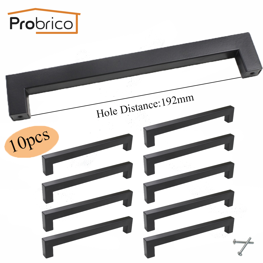 Probrico 10 PCS 15mm*15mm Black Square Bar Handle Stainless Steel CC 192mm Cabinet Door Knob Furniture Drawer Pull PDDJS15HBK192 probrico grey stainless steel kitchen cabinet handle diameter 12mm hole to hole 224mm furniture drawer knob pull pd201hgy224
