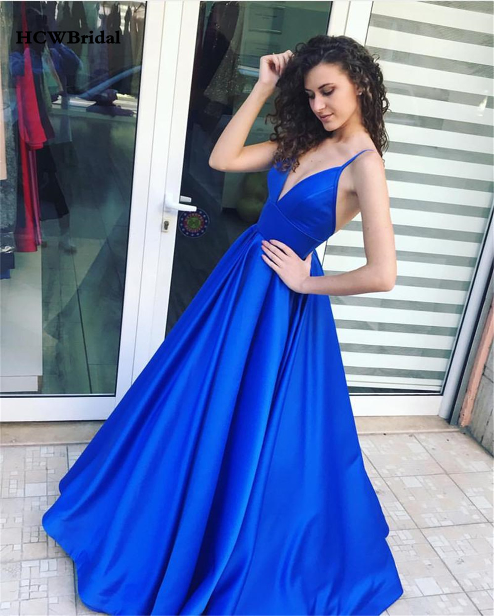 Long Blue   Prom     Dresses   High Quality Satin A Line Spaghetti Strap Backless Sexy Women Wedding Party Gowns 2019 Vestido De Fiesta