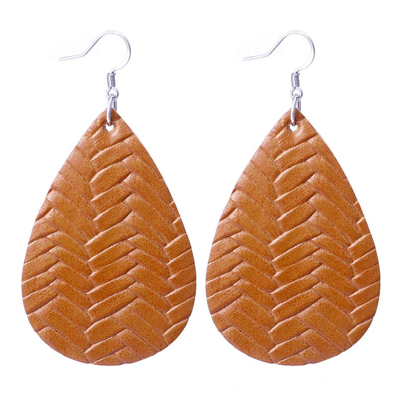 New Teardrop Leather Earrings Petal Drop Earrings Antique Lightweight S925 Carved Stainless Steel Earrings For Women Gifts 16