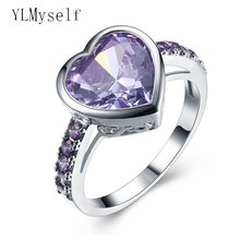 Кольцо в форме сердца с фиолетовым кристаллом из циркония отличное