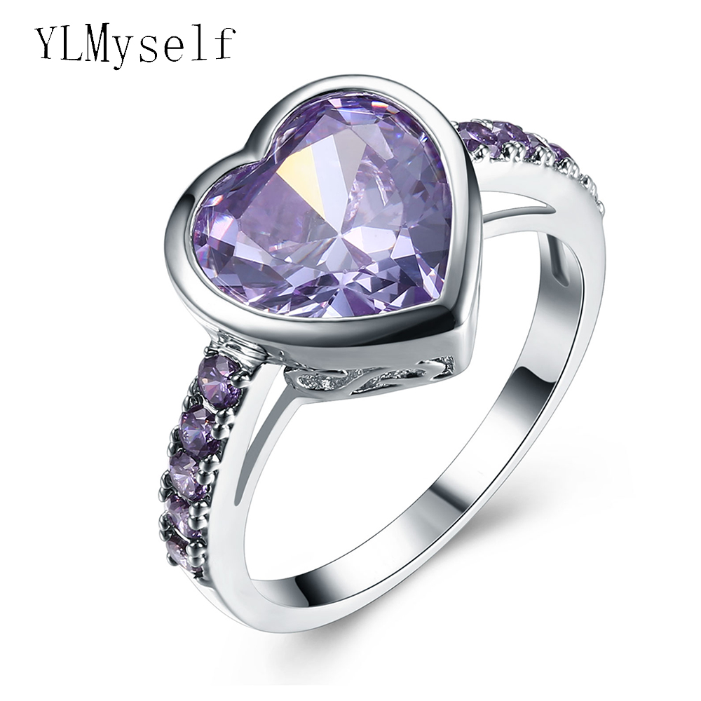 Purple zircon crystal ring Lovely heart shape Excellent