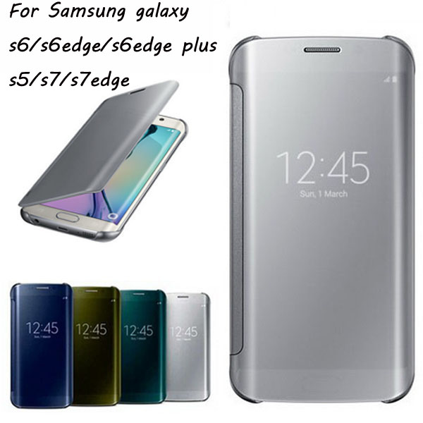 half off 12421 a4633 US $6.38 |100% New Smart View Window Clear Cover Case for Samsung Galaxy S7  S7 edge s5 S6 edge J5 J7 Prime Clamshell protective cover HC12 on ...
