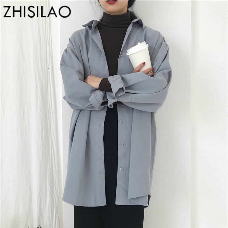 ZHISILAO Oversize Woman Shirt Plus Size Ladies Blouse Solid White Shirt Vintage Chic Long Sleeve Casual Shirts Woman Tops Maxi