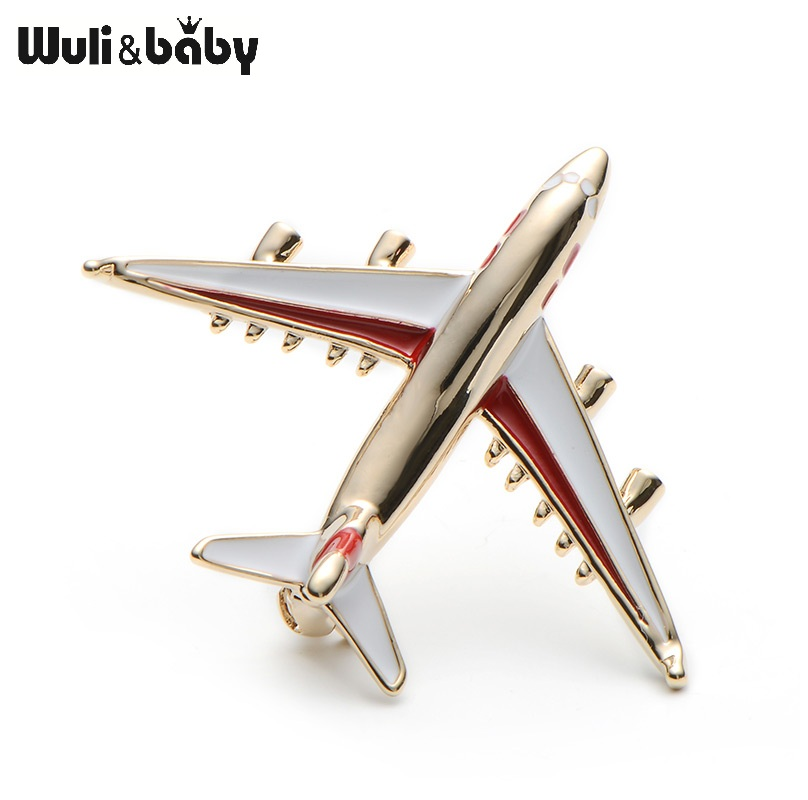 Alloy Airplane Brooch Pin Enamel Red Blue Plane Luxury Brand Brooches For Women Men Costumes Aircraft Brooch