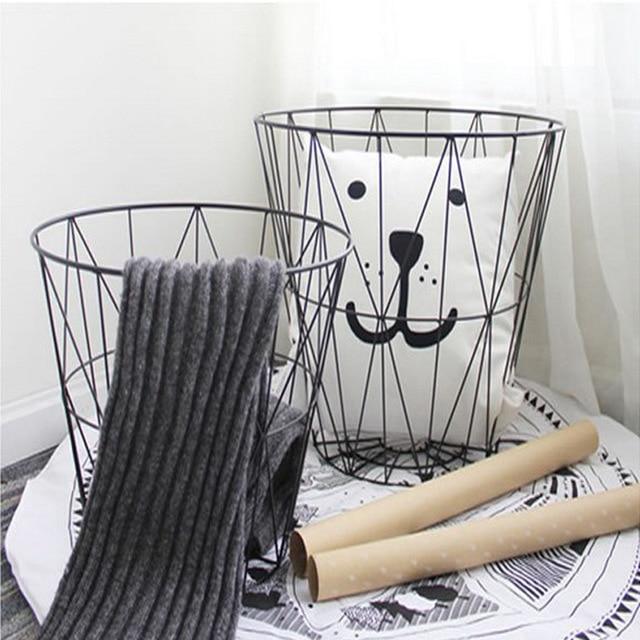 Metal Iron Storage Basket For Bathroom Children Room Toy Organizer Storage Basket Laundry Hamper Kids Housekeeping Organization