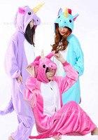 2017 Blue And Pink Purple Rose Red Unicorn Onesies Pijama Winter Sleepwear Pegasus Animal Pajamas Tenma