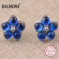 BALMORA Blue Corundum 100% Real 925 Pure Sterling Silver Jewelry Stud Earrings for Women Girls Party Gifts Bijoux LGY30007