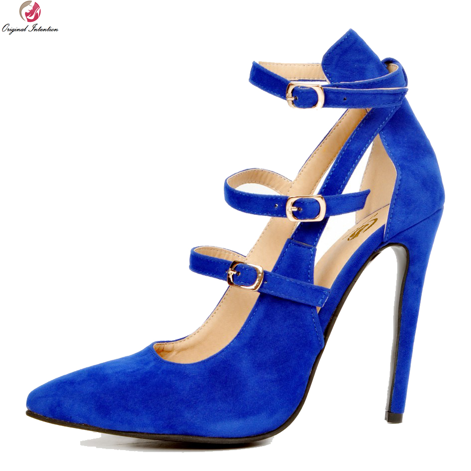 Original Intention New High-quality Women Pumps Beautiful Pointed Toe Thin Heels Pumps Nice Blue Shoes Woman Plus US Size 4-15 new 2017 spring summer women shoes pointed toe high quality brand fashion womens flats ladies plus size 41 sweet flock t179