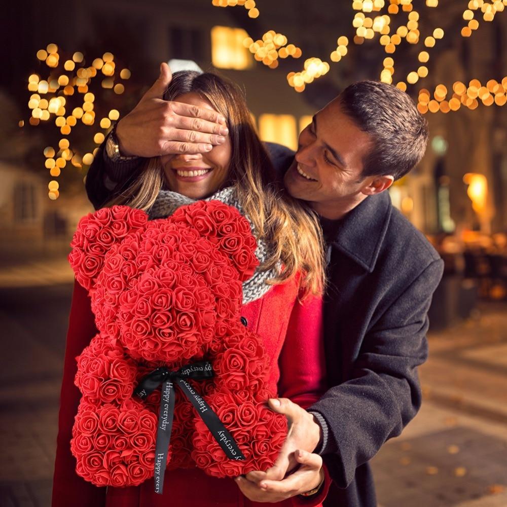 Artificial & Dried Flowers Rose Bear Toy Women Girls Flower Birthday Valentine Wedding Party Doll Gift