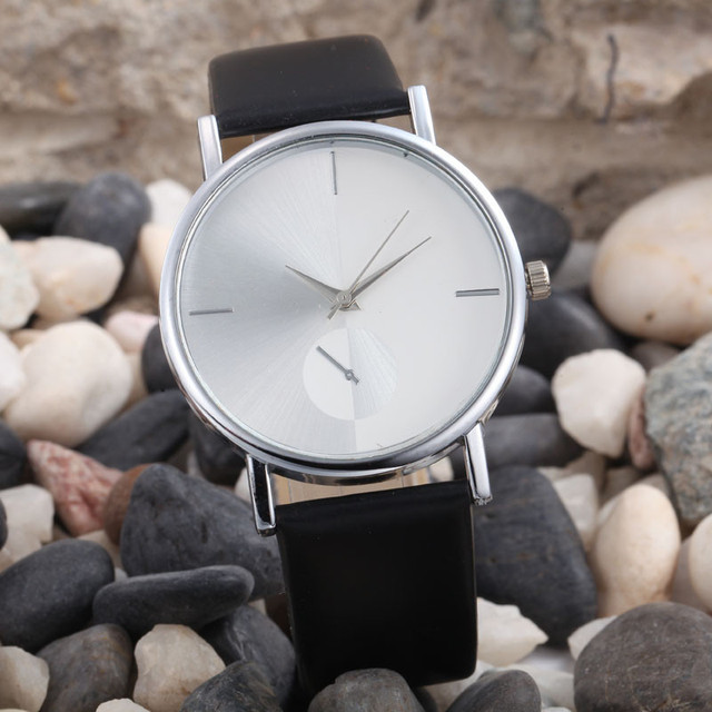 Casual Simple Style Women's Watch Ladies Clock Fashion Design Dial Leather Band