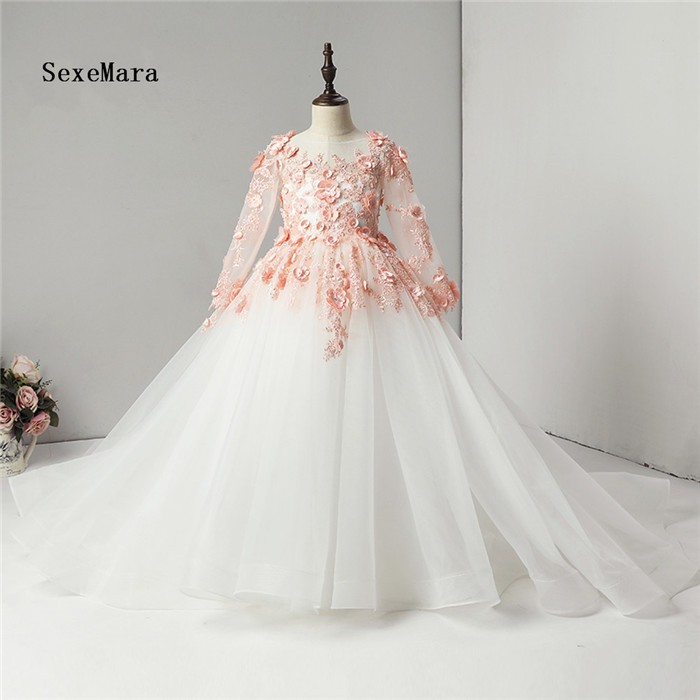 Real Picture Ball Gown 3D Floral Lace Flower Girl Dress for Wedding O Neck Bow Appliques Tulle Holy Communion Dress Prom Gown eye catching scoop neck appliques lace up long prom dress