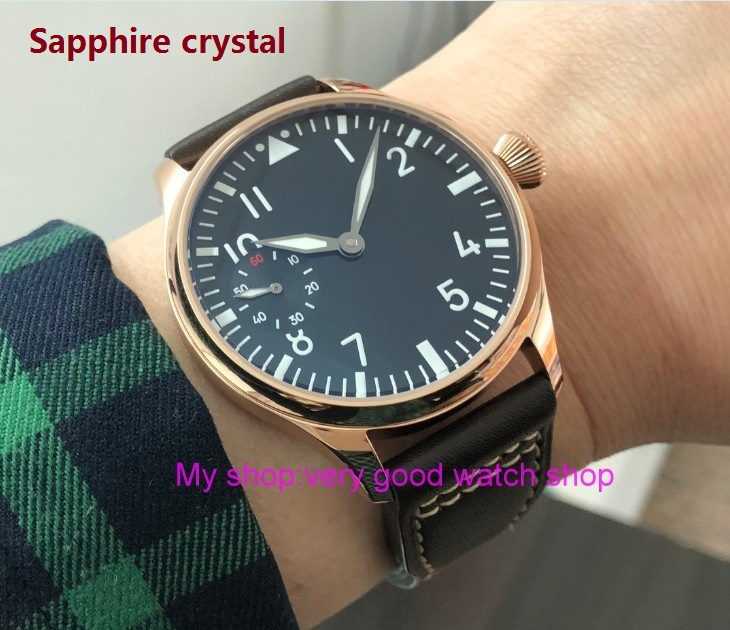 Sapphire crystal 44mm parnis Asian 6497 17 jewels Mechanical Hand Wind movement Rose gold case luminous mens watch pa84-p8Sapphire crystal 44mm parnis Asian 6497 17 jewels Mechanical Hand Wind movement Rose gold case luminous mens watch pa84-p8