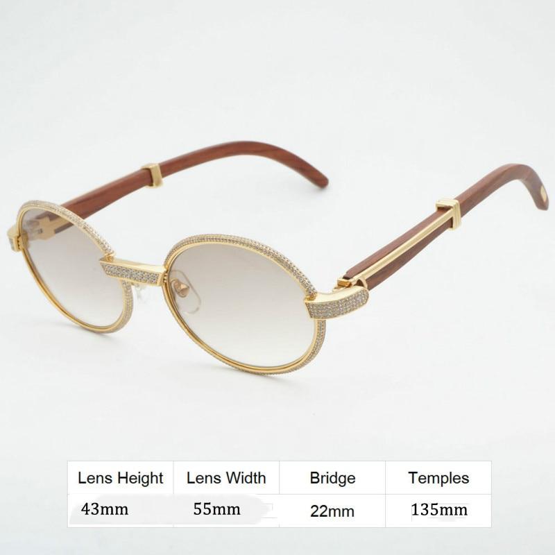 7addcdad4 Luxury Diamond Sunglasses Wooden Eyeglasses Retro Shades Men Stone ...