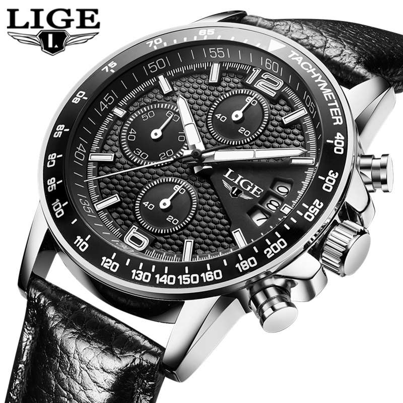 LIGE Waterproof Casual Sport Watch Men Military Quartz Watch Mens Watches Top Brand Luxury Date Leather