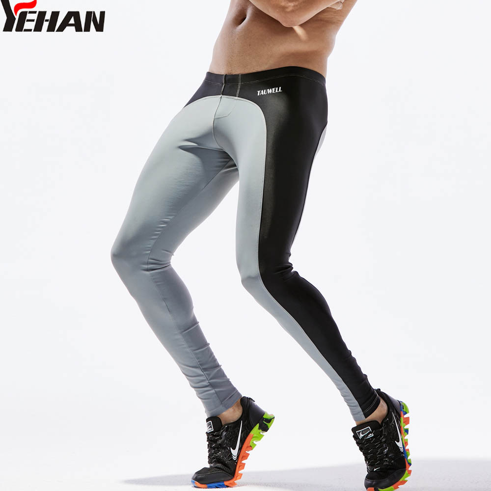 купить Yehan Running Tights Men Long Pants Nylon Quick Dry Men Leggings Fitness Side Patchwork Stretchy Diving Pant Jogging Homme по цене 1007.72 рублей
