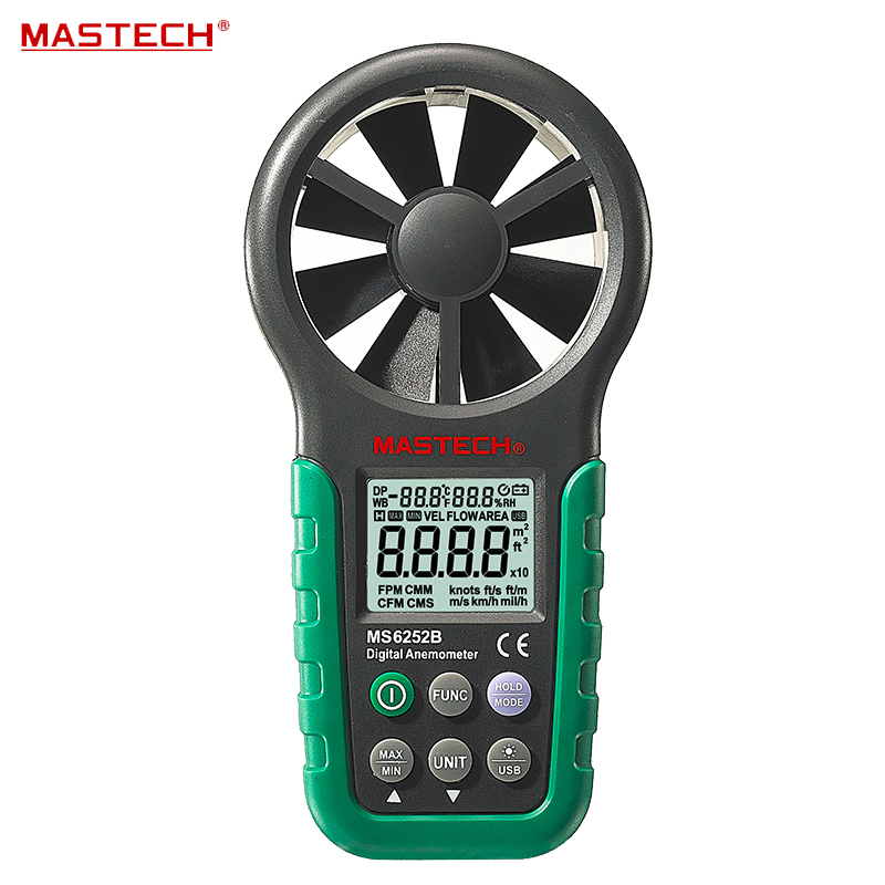 Digital Anemometer T&RH Sensor Air Wind Speed Velocity Meter USB Interface Mastech MS6252B digital 3 cup type sensor probe multi function thermo anemometer 80% rh air weather meter wind direction air speed temperature