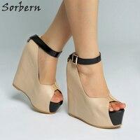 Sorbern Nude Ankle Strap Peep Toe Wedge Shoes Women Pumps Platform 14Cm High Heels Size 11 Womens Shoes Multi Colors Wedges