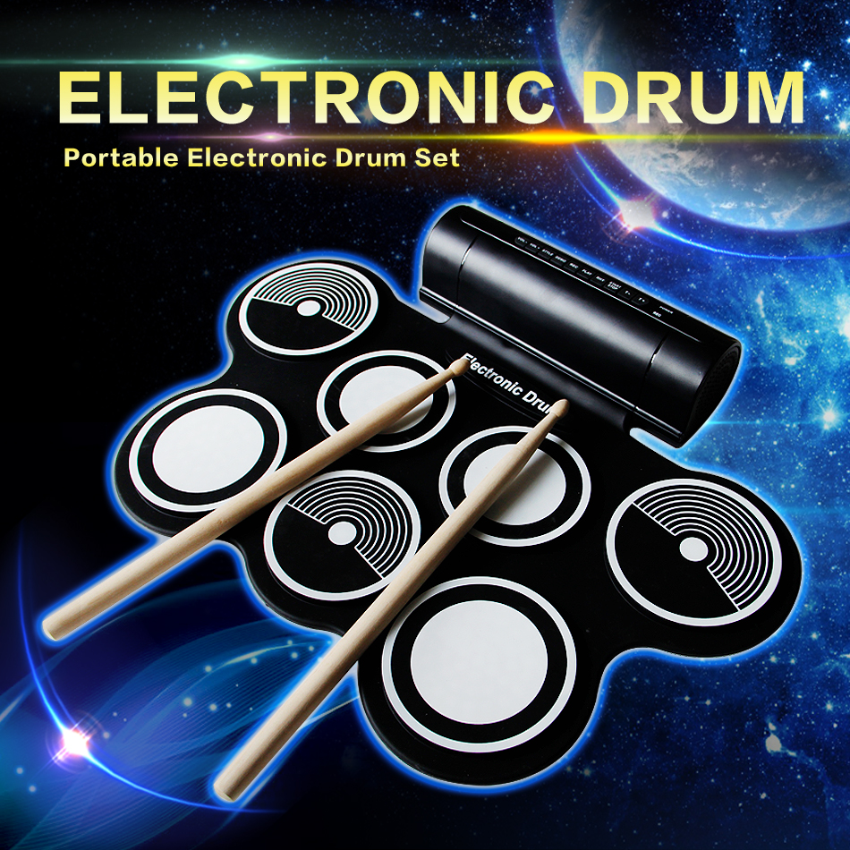 USB MIDI port Portable electronic drum set multi tones easy to use 6pcs set 39x 27 5x2 5cm silica gel foldable portable roller up usb electronic drum kit 2 drum sticks 2 foot pedals