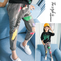 2017 Spring Autumn Girls Jeans Wash Water Loose Casual Elastic Waist Girls Jeans Hole Children Fashion