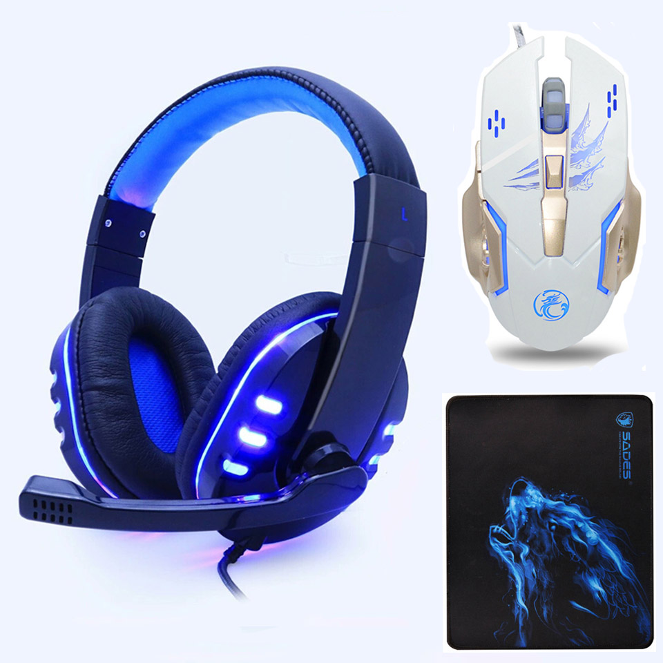 Gaming Headset Gaming 3.5mm Gaming Headphones Earphone Games Head phone with Mic LED Light for PC Laptop PS4 Xbox One Gamers
