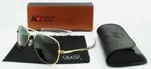 Heißer Verkauf USA Air Force Design Mode Sonnenbrillen für Männer metall Sonnenbrille mit Fall und Tuch Glaslinse Kostenloser Versand AO56