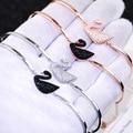 Venda 925 Pulseira de Prata Pulseira preta cisne cisne Coreano contadores com jóias por atacado