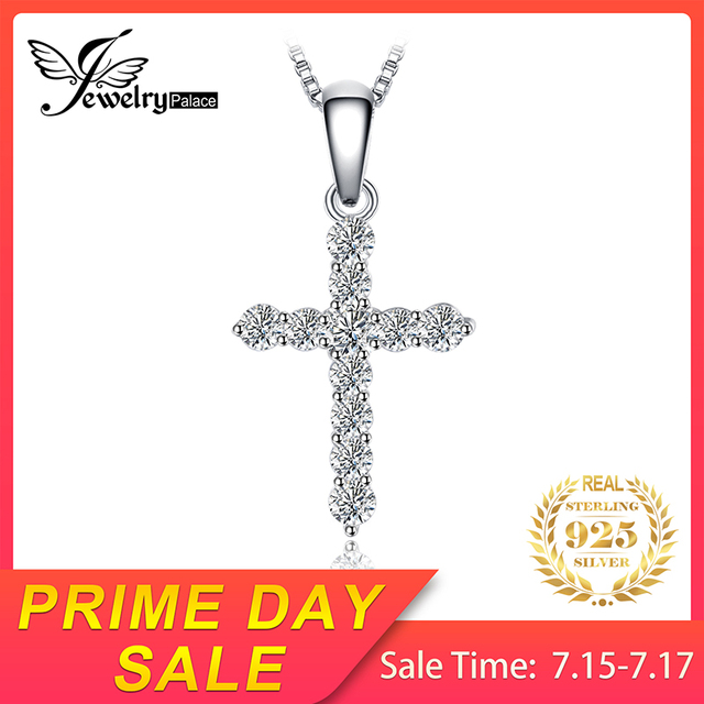 JewelryPalace Fashion 925 Sterling Silver Cubic Zirconia Cross Pendant Necklaces For Women Jewelry Without Chain