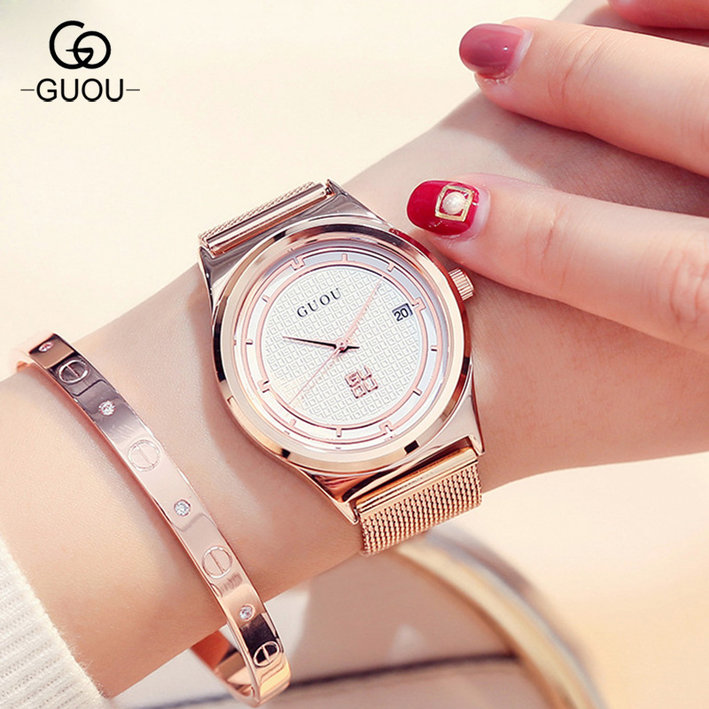 Classic GUOU Brand Rose Gold Stainless Steel Bracelet Gift Wristwatches Wrist Watch for Women Ladies with Calendar 8088Classic GUOU Brand Rose Gold Stainless Steel Bracelet Gift Wristwatches Wrist Watch for Women Ladies with Calendar 8088