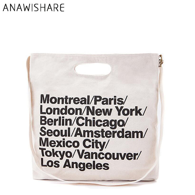 Anawishare Women Canvas Shoulder Bags Letter Print Handbags Large Las Tote Designer School Bolsa