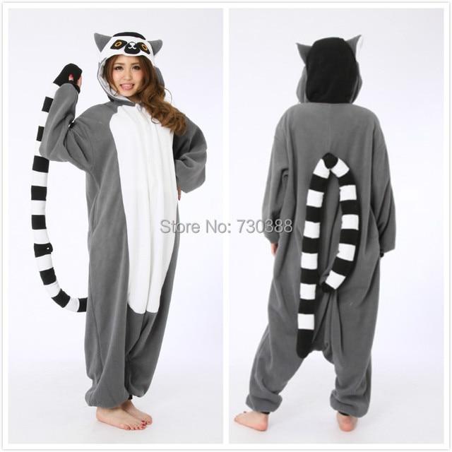 90bdc5c77e Halloween Novelty Animal Lemur Long Tail Monkey Adult Onesie Unisex Women  Men Cosplay Pajamas Christmas Party Costumes Plus Size