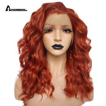 Anogol Auburn Orange High Temperature Fiber 360 Frontal Long Deep Wave Hair Wigs Synthetic Lace Front Wig For Women Free Part - DISCOUNT ITEM  39% OFF All Category