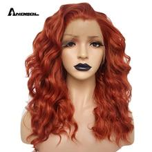 Anogol Auburn Orange High Temperature Fiber 360 Frontal Long Deep Wave Hair Wigs