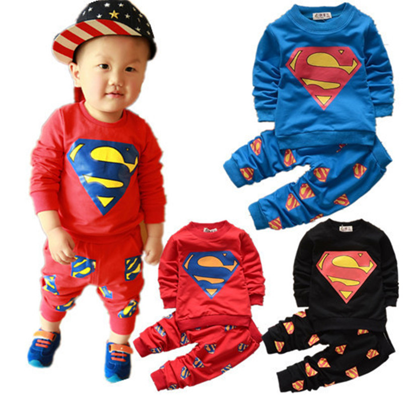 Superman Baby Cotton Clothes Suits Baby Boy Set Autumn Clothing 2017 Sweatshirt Kids Set Clothes Christmas Gifts for Boys Girls