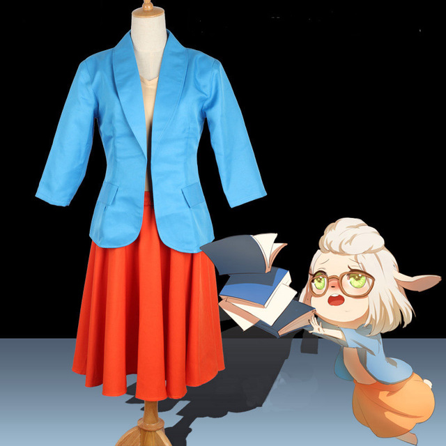 Cos ZOOTOPIA Dawn Bellwether Cosplay Costume Sheep Cosplay Cos Female Movie  Suit Daily Blue Coat Orange Skirt Yellow T-shirt 1ec4c88af07e
