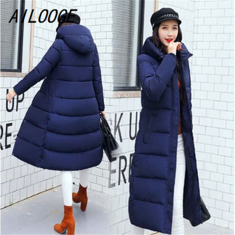 AILOOGE autumn winter Women Fashion   Down   X-Long hoodie   down   Parkas Cotton warm Jackets Thick Female Long   coat   clothing