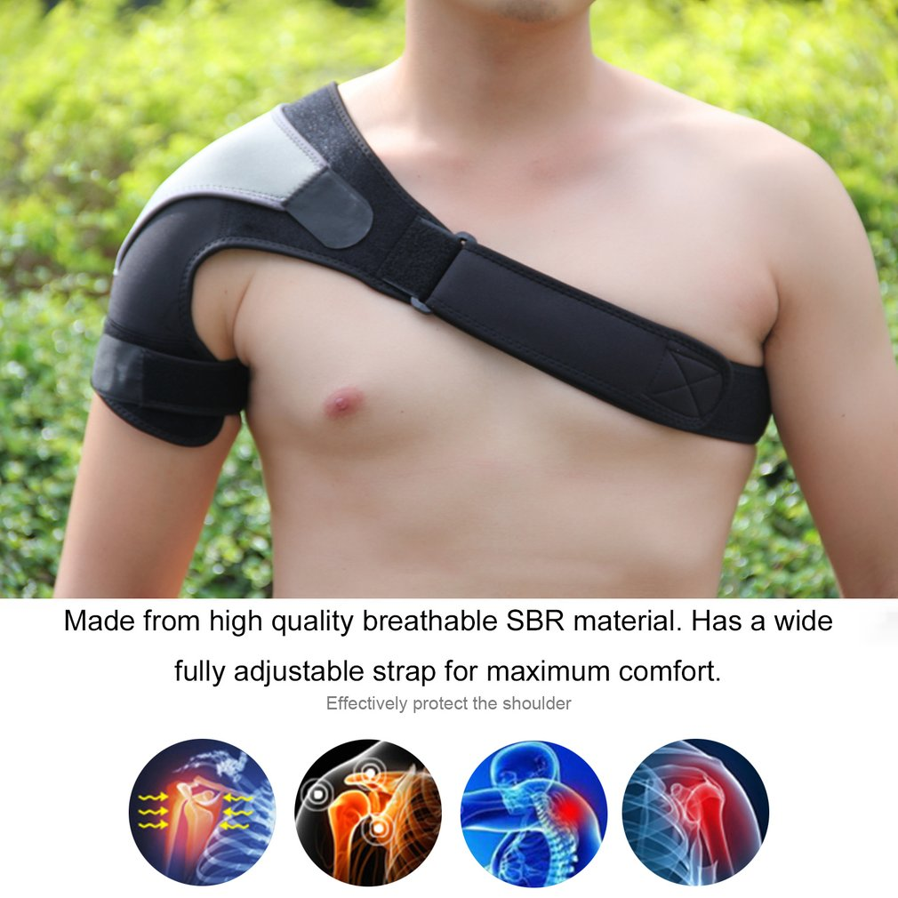 Gym Sports Care Single Shoulder Support Back Brace Guard Strap Wrap Belt Band Pads Black Bandage Men Women wholesale