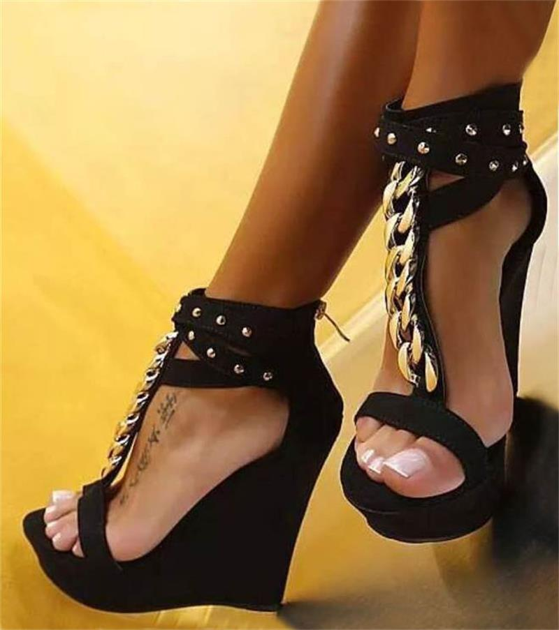 Plataforma Mujer Romano Nuevo Sexy Cuñas Cadena Del Diseñador Altos 2017 Verano De Sandalias Zapatos Alta Metal Calidad Tacones Peep Negro Toe Hq6TSwIC