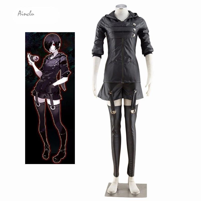Ainclu Free Shipping Black Tokyo Ghoul Kirishima Toka Adult Halloween Cosplay Costume Mini Skirt Leg Warmers