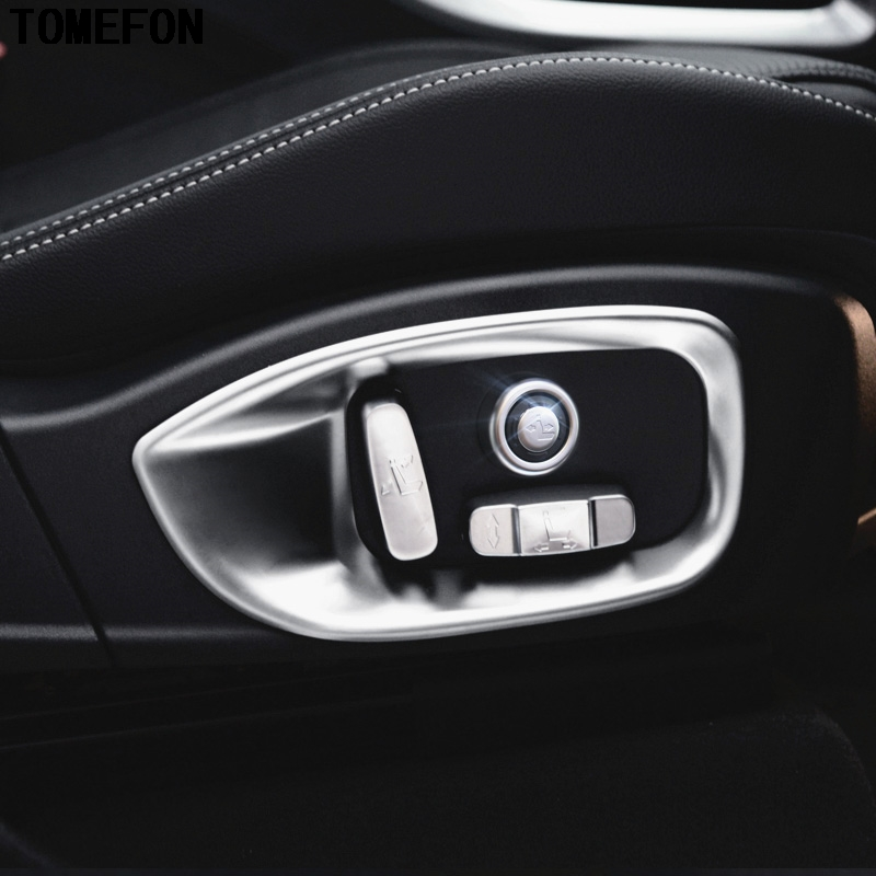 For Jaguar F-Pace f pace X761 2016 2017 ABS Chrome Car Seat Adjustment Button Cover Outer Car Seat Frame Trim Car Styling