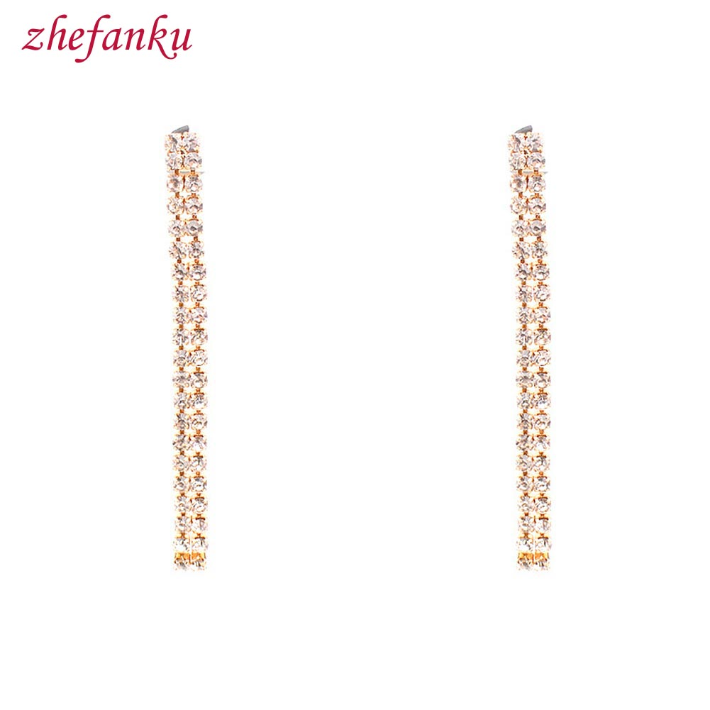 New Fashion Women Geometric One Word Design Rhinestone Long Tassel Dangle Earring Drop Brincos Jewelry Ear Accessory